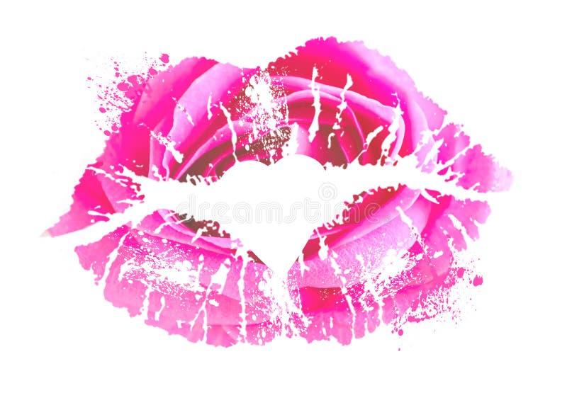 桃红色嘴唇印刷品  在白色背景的唇膏亲吻 卡片为国际亲吻的天 性感的亲吻的妇女嘴唇 免版税库存图片