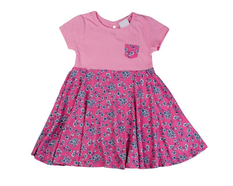 桃红色婴孩礼服,孤立 免版税库存照片