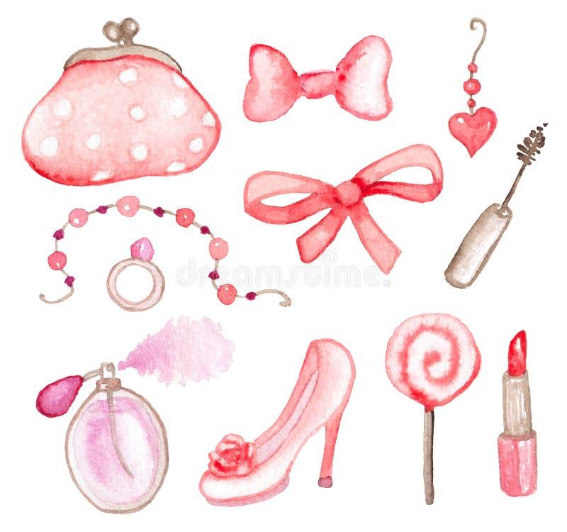 桃红色水彩元素 向量例证