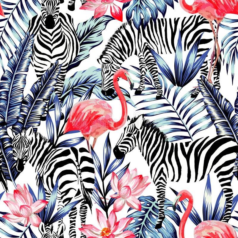 桃红色水彩火鸟、斑马和蓝色棕榈叶热带se 皇族释放例证