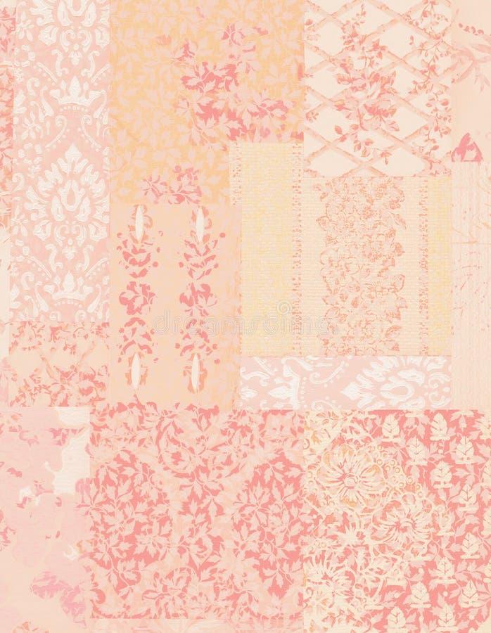 桃红色破旧的别致的葡萄酒花卉墙纸背景 向量例证