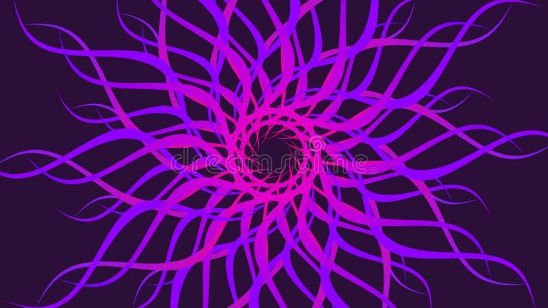 桃红色&紫色转动的被仿造的五颜六色的螺旋,摘要挥动背景 库存例证
