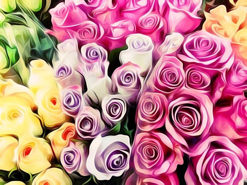 桃红色紫色和黄色玫瑰绘 向量例证