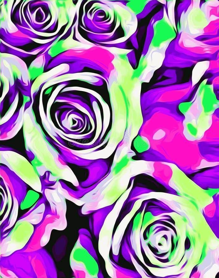 桃红色紫色和绿蔷薇纹理摘要 向量例证