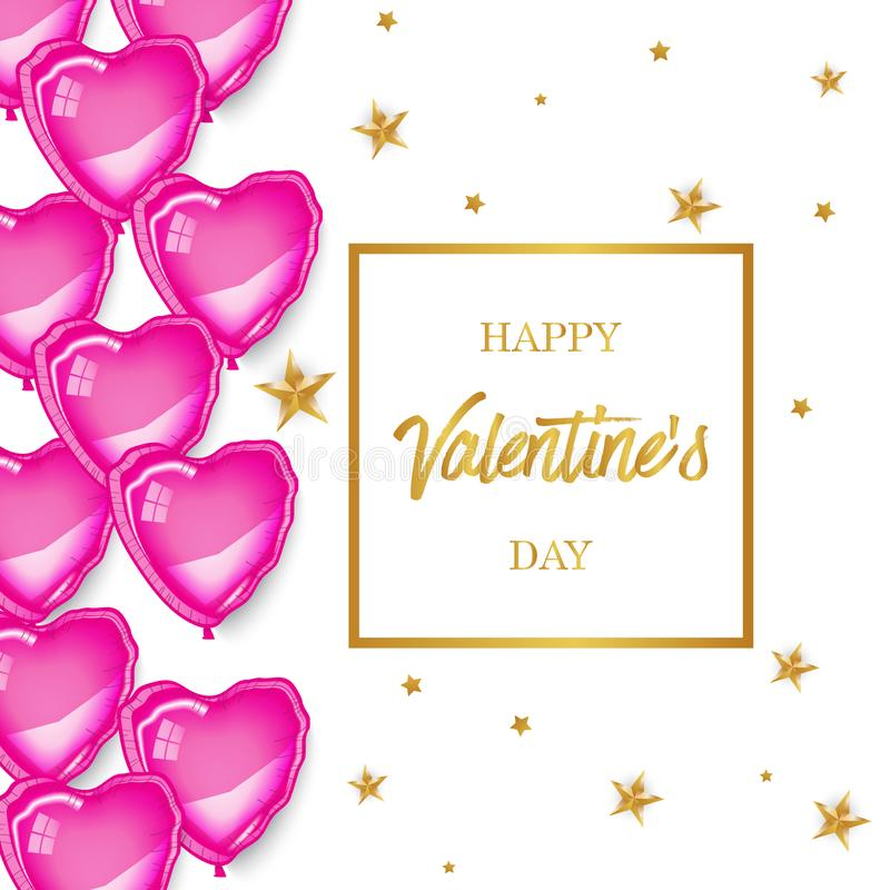 桃红色baloons心脏,方形的框架 库存图片