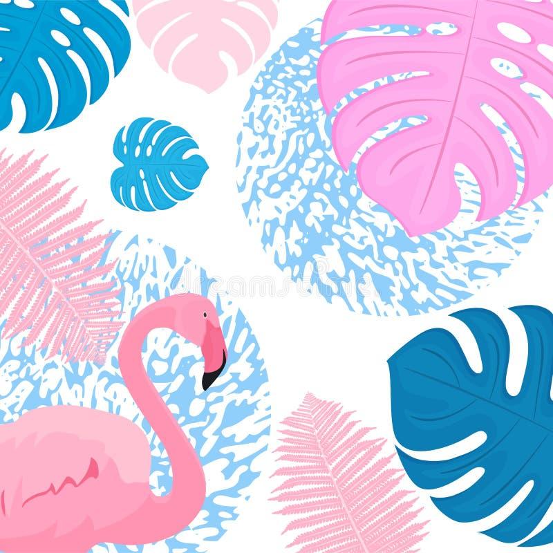 桃红色flamingo3 时髦热带设计 棕榈,monstera,蕨叶子  向量例证