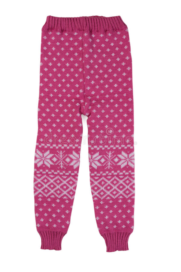 桃红色hildren羊毛裤子,孤立 免版税库存照片