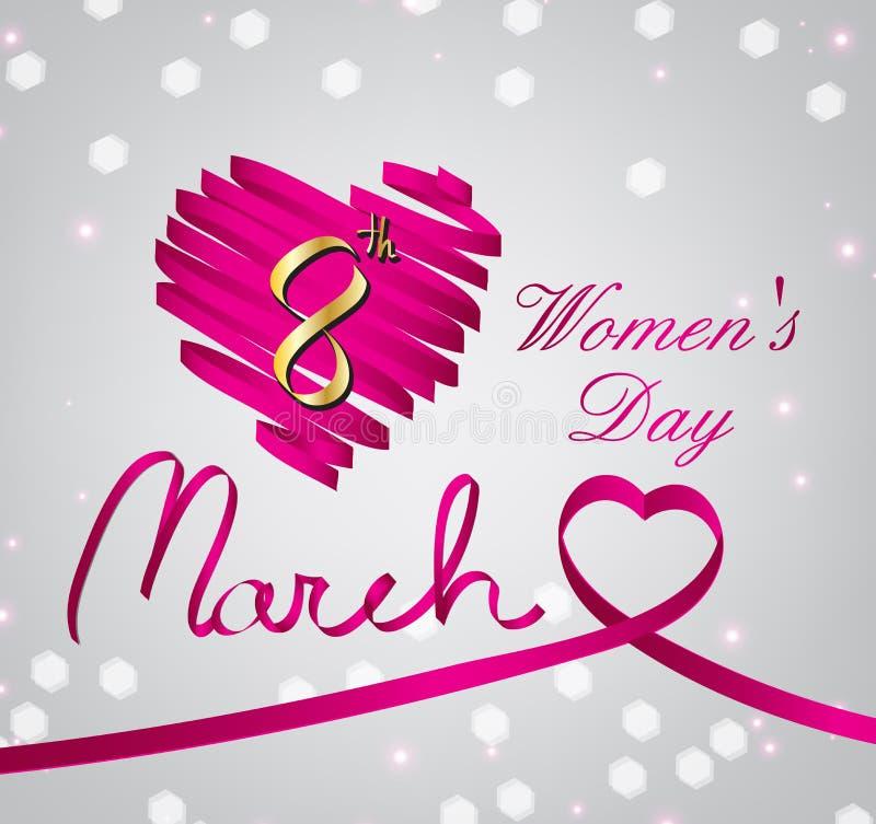 桃红色women'day缎光滑的丝带的心脏 库存例证