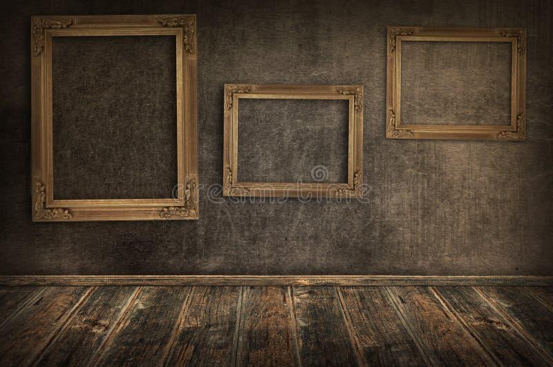 框架三葡萄酒墙壁 库存图片