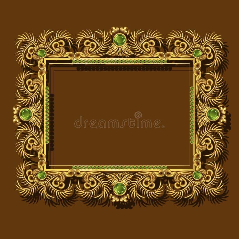 框架与阴影的金子颜色 库存例证