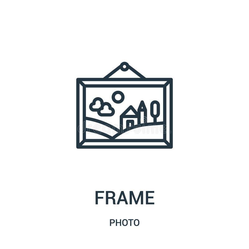框架从照片汇集的象传染媒介 稀薄的线框架概述象传染媒介例证 线性标志为在网和机动性的使用 向量例证