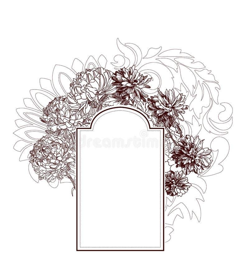 框架传染媒介背景维多利亚女王时代的菊花花剪影 库存例证