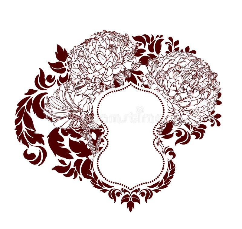 框架传染媒介背景维多利亚女王时代的菊花花sketcch 库存例证