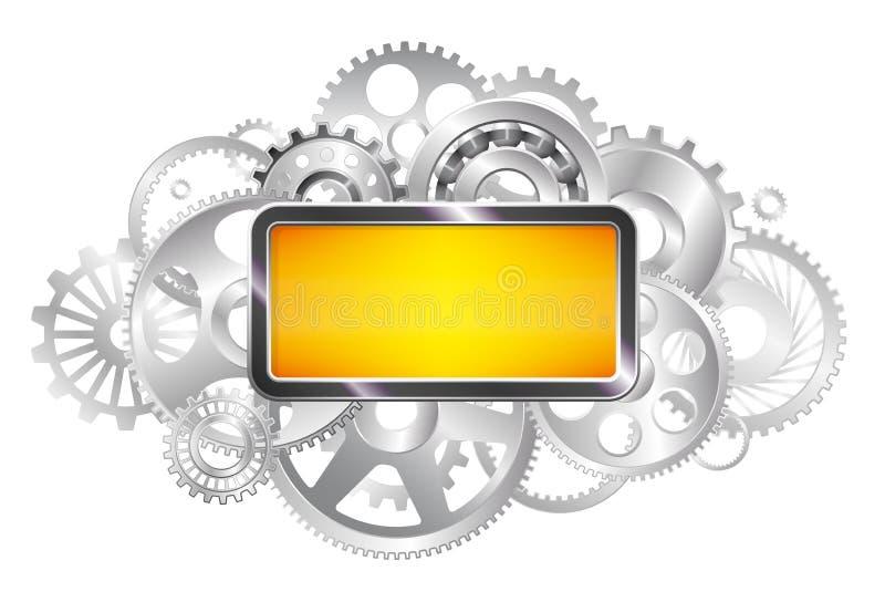 框架例证文本向量 机制的齿轮 行业背景 精采钢 复制空间 库存例证