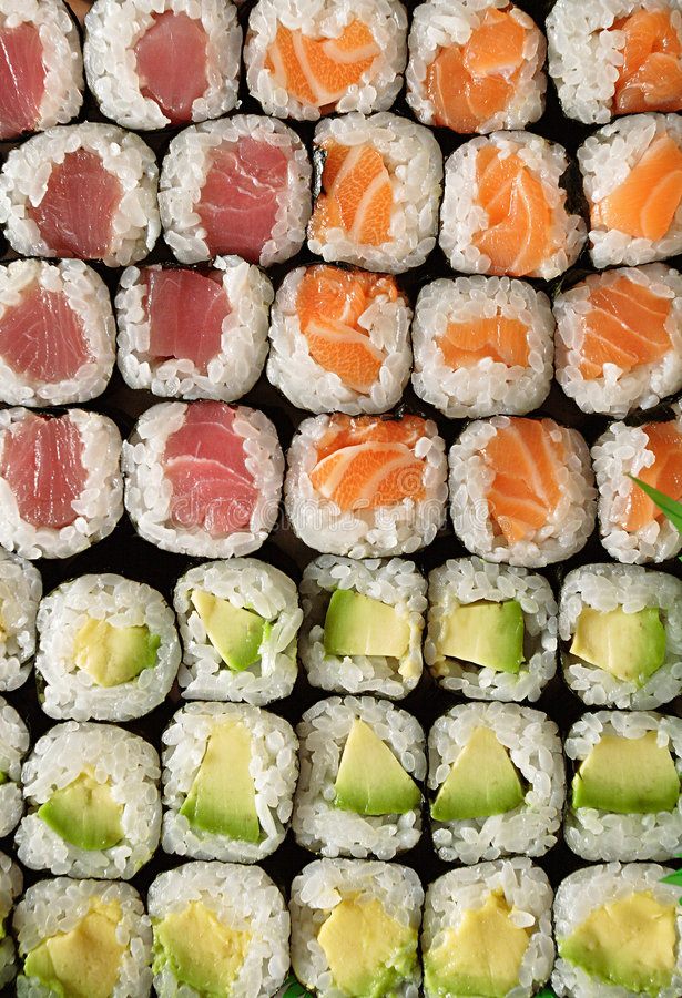 框架充分的寿司 免版税库存照片