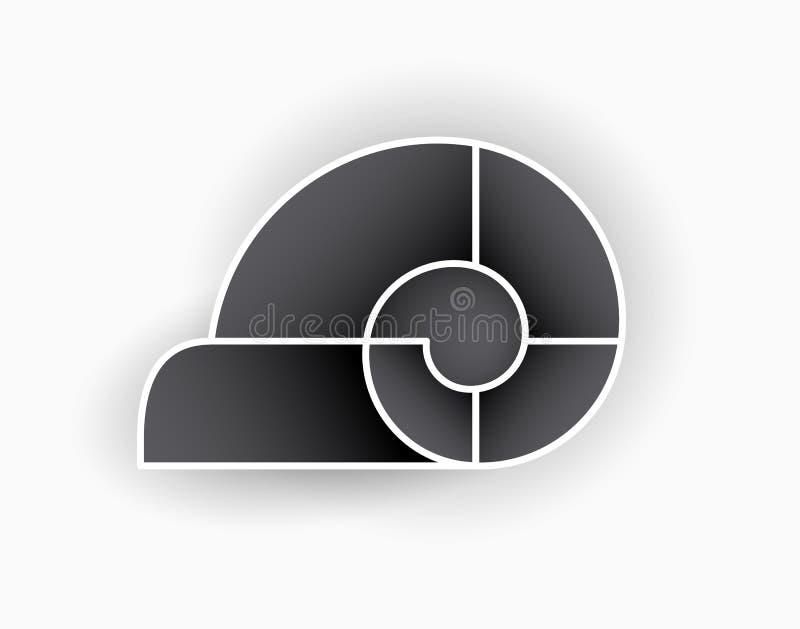 框架创造性以蜗牛、剪影、螺旋图片和图象的形式 r r o ?? 向量例证