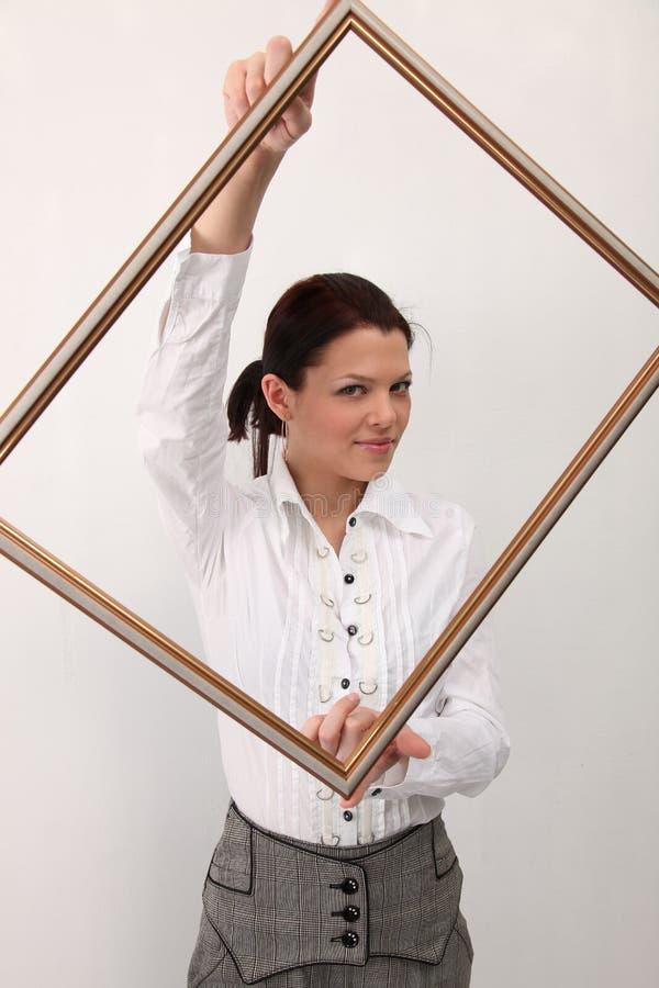 框架女孩照片 图库摄影
