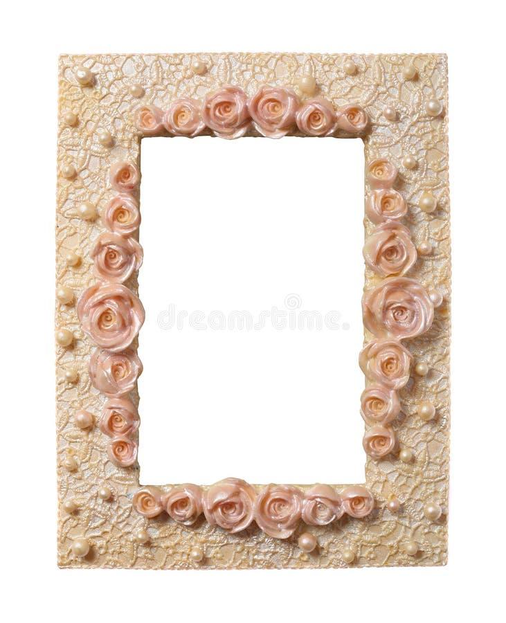 框架成珠状玫瑰 免版税库存照片