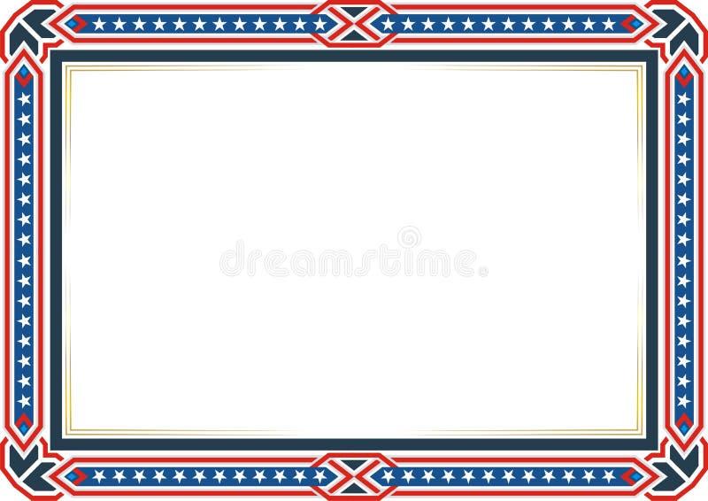 框架或边界,与爱国美国国旗样式和颜色设计 皇族释放例证