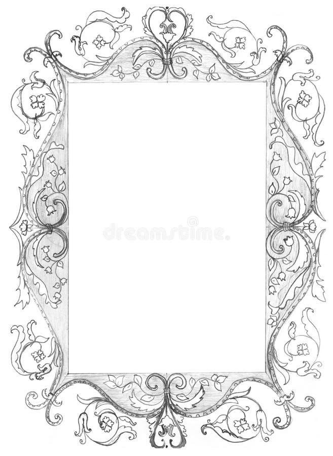 框架查出的照片草图 库存例证