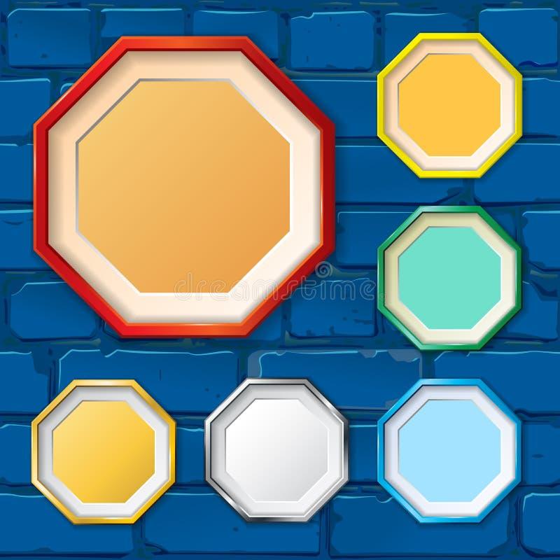 框架样品在砖墙上的 向量 库存例证
