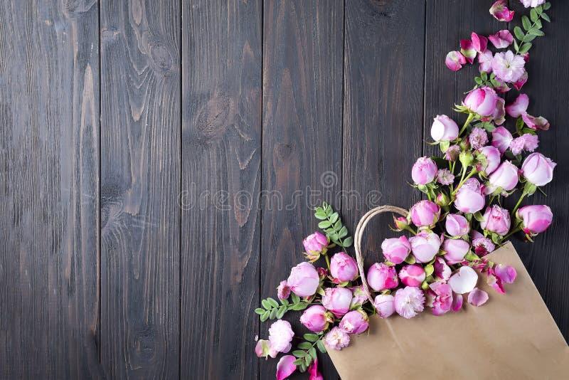 框架桃红色玫瑰 库存照片