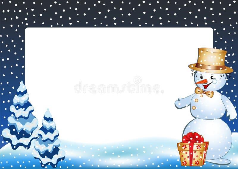 框架滑稽的照片雪人冬天 库存例证