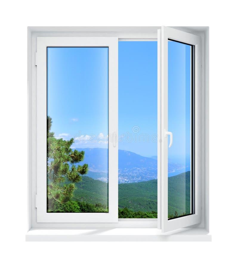 框架玻璃查出的新的被开张的塑料视窗 皇族释放例证