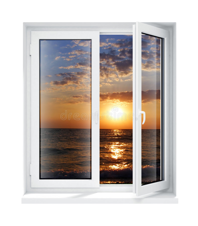 框架玻璃查出的新的被开张的塑料视窗 向量例证