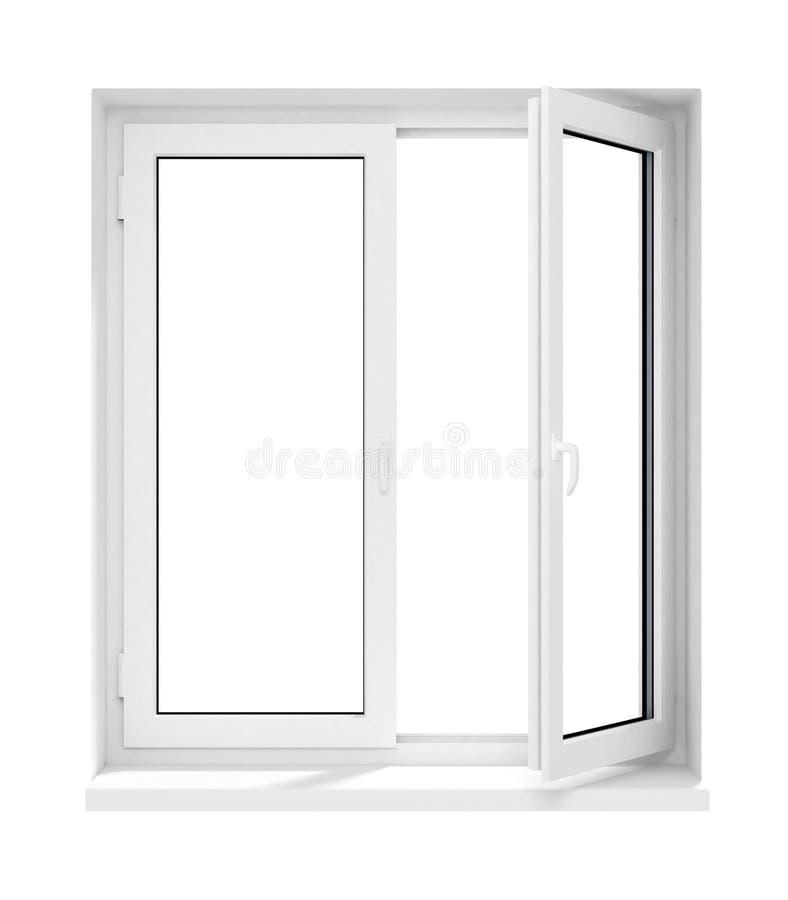 框架玻璃查出的新的被开张的塑料视窗 库存例证