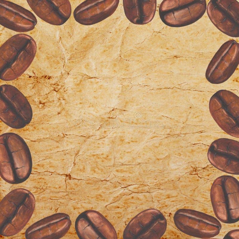 框架用水彩在老纸背景的咖啡豆 皇族释放例证