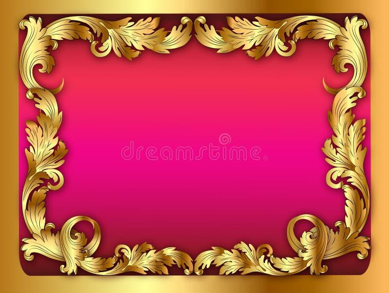 框架的桃红色背景的例证与orname的 库存例证