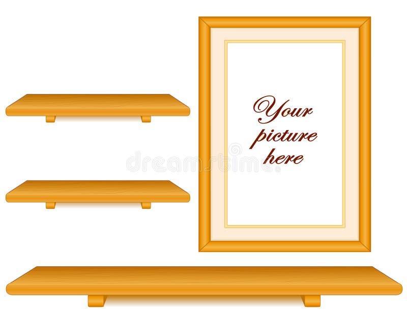 框架组橡木照片搁置墙壁木头 向量例证