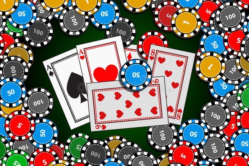 框架芯片和卡片在桌中间 向量例证