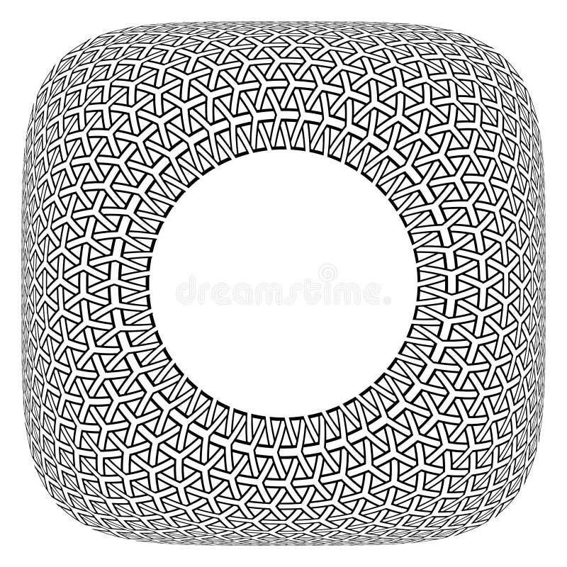 框架设计 在方形的形状的凸面几何圈子样式 向量例证