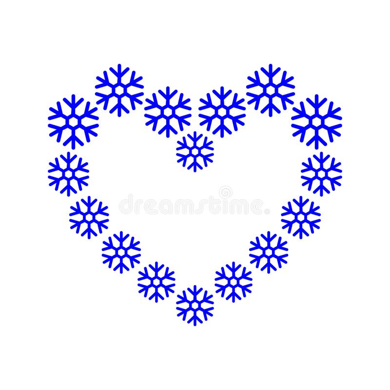 框架边界,雪花在心形蓝色排队了 背景重点节假日雪花 抽象圣诞节冬天传染媒介例证 库存例证