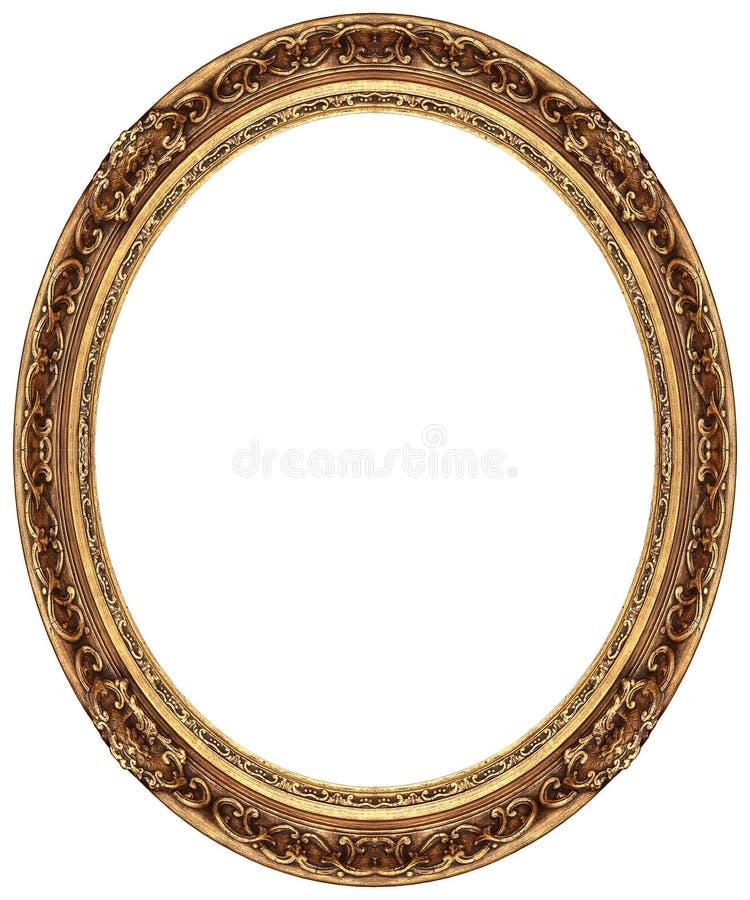 框架金子长圆形照片 图库摄影