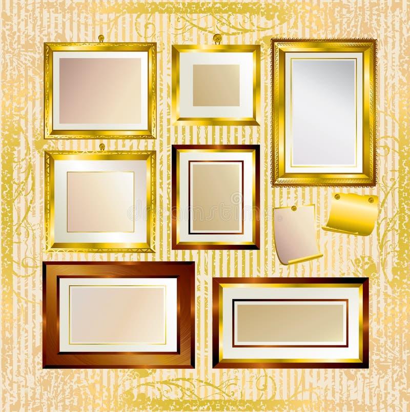 框架金子集合向量 向量例证
