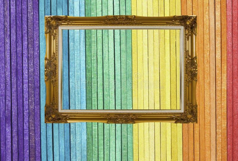框架金黄照片木头 库存图片