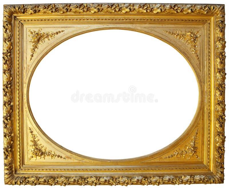 框架金黄照片葡萄酒 库存图片