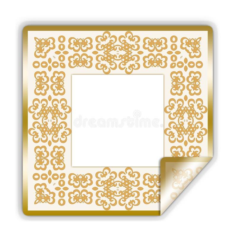 框架金黄说明的贴纸 皇族释放例证