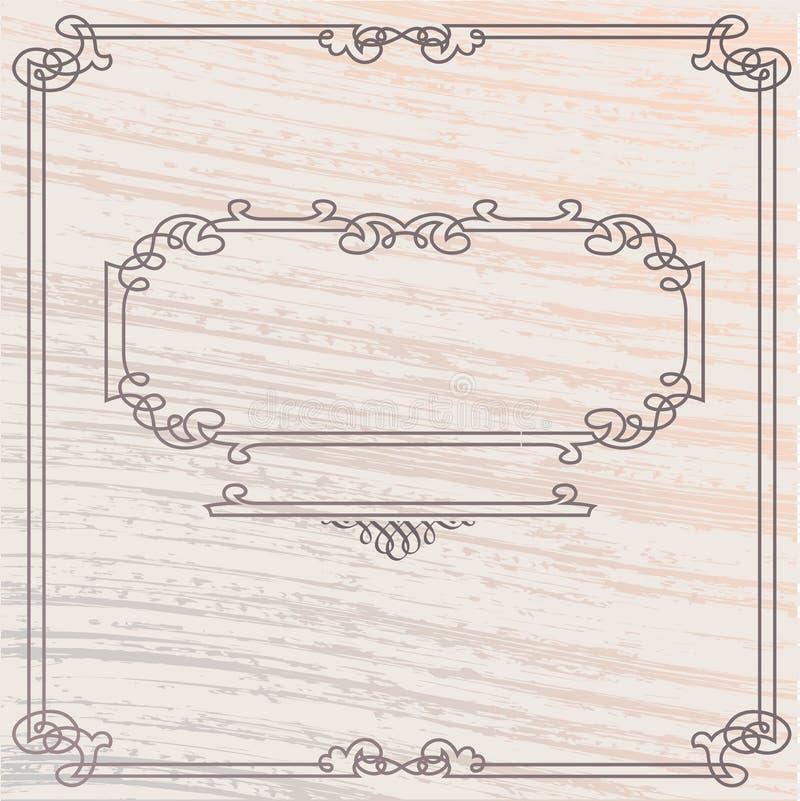 框架镶嵌细工老牌向量木头 皇族释放例证