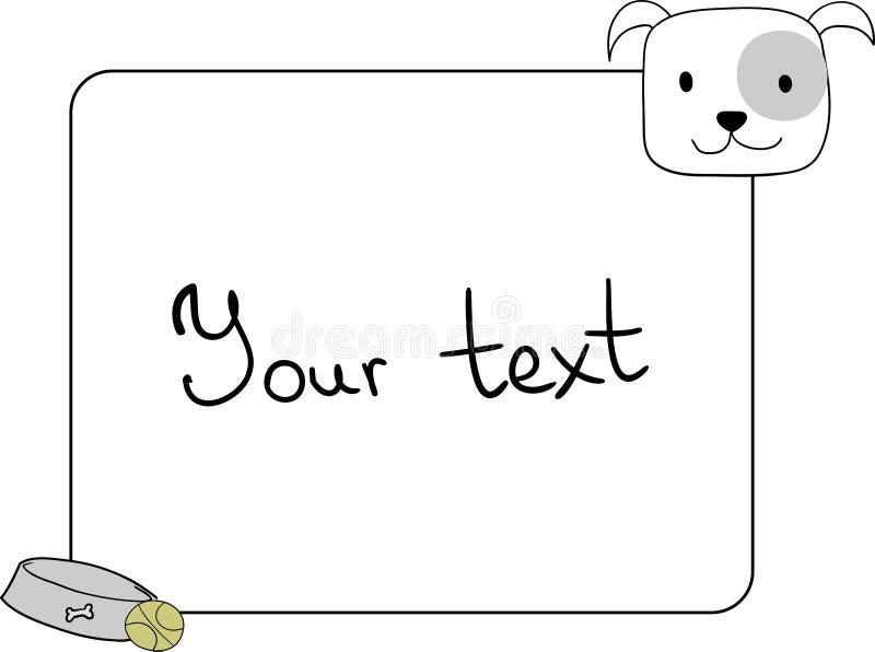 框架,与一条逗人喜爱的英国牛头犬狗的设计元素 向量例证