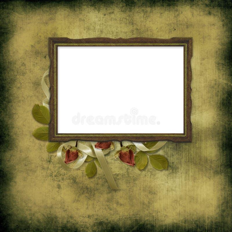 框架grunge老在玫瑰墙纸 库存例证