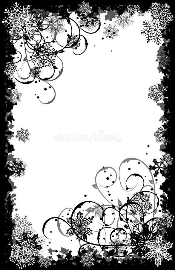 框架grunge雪花向量 库存图片