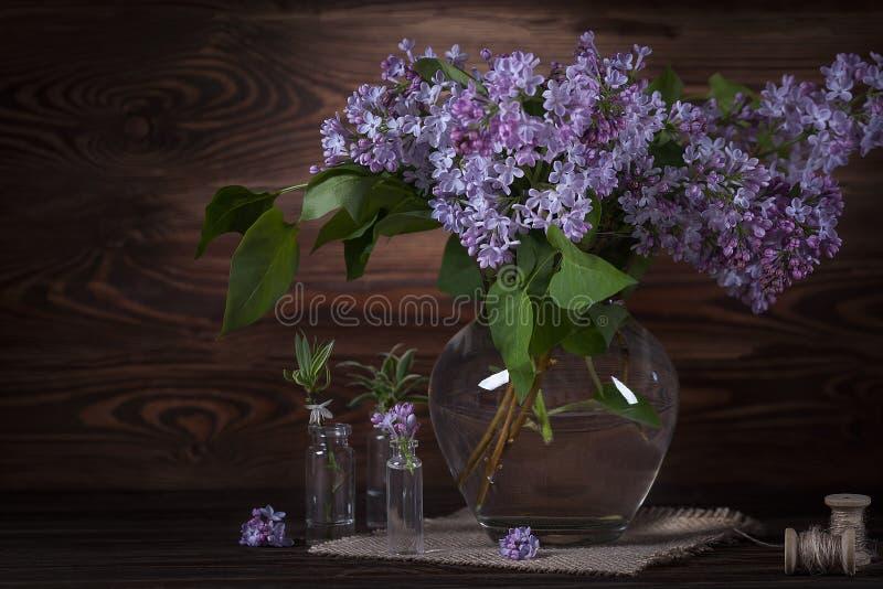 桌上一大束紫丁香 静物 库存图片