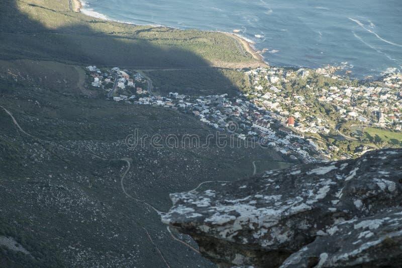 从桌山的开普敦视图 图库摄影