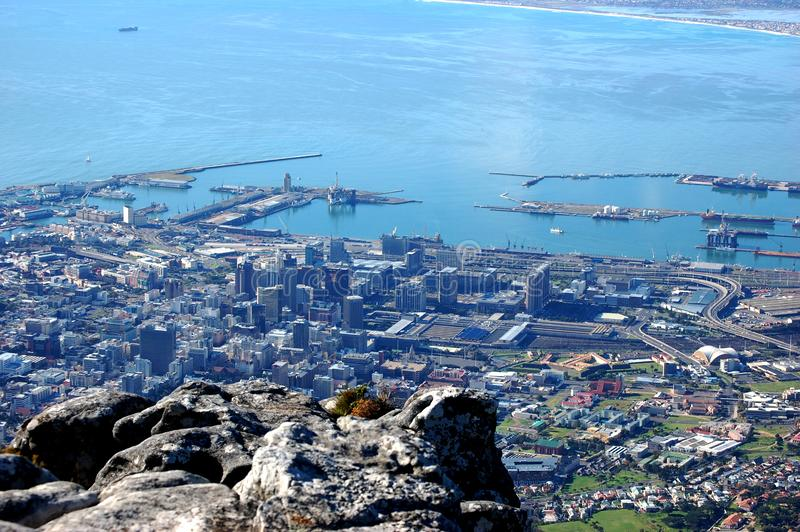 桌山,南非,开普敦,有下面城市的 库存图片