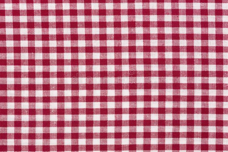 桌布方格的红色和白色织品纹理 免版税库存图片