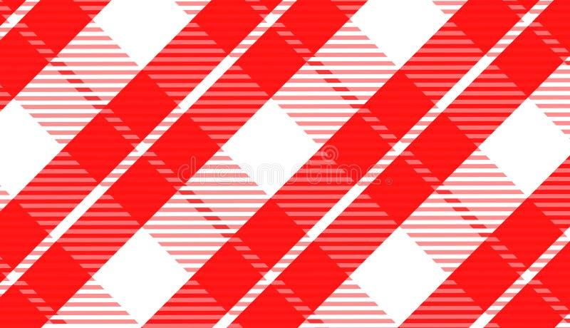 桌布格子花呢披肩的,背景,纺织品文章,红色和黑细胞的,传染媒介例证桌布方格花布样式 皇族释放例证